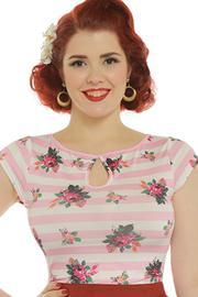 Dido Pink Stripe Floral Print Jersey Top by Lindy Bop
