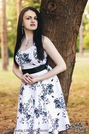 White 50's Rockabilly Dress with Black Floral Print