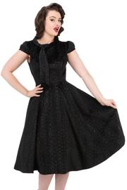 Desirable Black Velvet Leopard Flocked Tea Dress