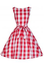 Audrey Red Checked Gingham Swing Dress by Lindy Bop