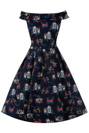 Christie Venice Print Navy Swing Dress