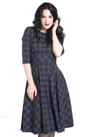 Peebles NAVY BLUE Tartan 50's Dress by Hell Bunny - 3X ONLY