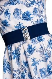 Navy Blue Elastic Nurses Retro Belt by Hell Bunny