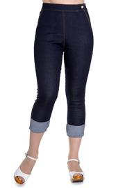 Ronnie Blue Denim Capri Trousers by Hell Bunny