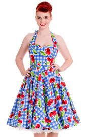 August Cherry Blue Gingham 50's Dress by Hell Bunny