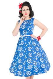 Hepburn Nautical Print Blue Dress by Lady Vintage