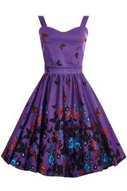 Nancy Purple Butterfly Border 50's Dress by Lady Vintage
