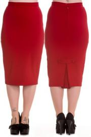 Joni Red Wiggle Pencil Skirt by Hell Bunny