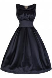Selema Blue Black Satin Dress by Lindy Bop - UK8 ONLY