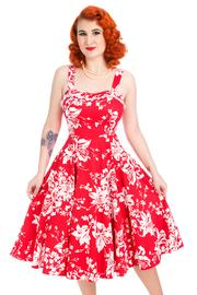 White Regal Lily Red Swing Rockabilly Dress