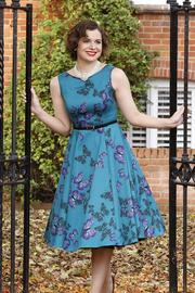 Hepburn Teal Green Butterfly Dress by Lady Vintage