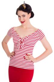 Dolly White Top with Red Stripes by Hell Bunny