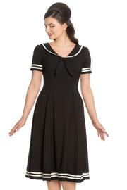 Ambleside Black Nautical Style Dress by Hell Bunny