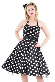 Big White Polkadots on Black 1950s Rockabilly Dress