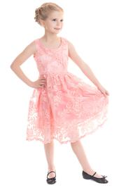 Pink Chantilly Lace Girl's Rockabilly Dress