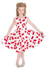 White Bombshell Cherry Children's Swing Dress