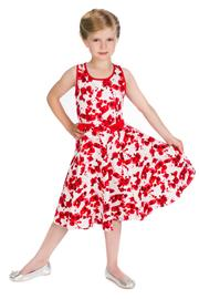 Red Poppy Floral Children's Rockabilly Dress