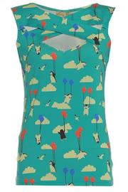 Alicia Flying Penguins Fitted Top by Lindy Bop