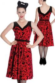 Liv's 50's Flocked Tattoo Print Red Dress by Hell Bunny