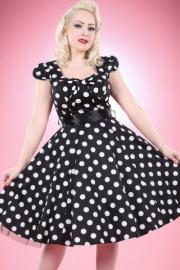 Black Cotton Vintage Dress with Large White Polkadots