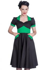 Vampiress Black and GREEN 50's Dress by Hell Bunny
