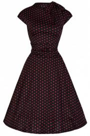 Dottie Black with Red Polkadot 50's Dress by Lindy Bop