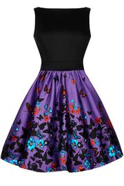 Purple Butterfly Border Two-Tone Tea Dress by Lady Vintage