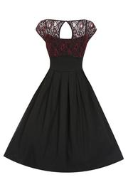 Verona Black Red Lace Swing Dress by Lindy Bop
