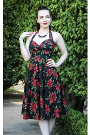 Cannes Red Rose Floral Black 50's Dress by Hell Bunny
