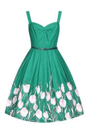 Bernice Turquoise Tulip Swing Dress by Lindy Bop