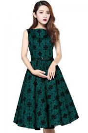 Patsy Green Printed Rockabilly Dress