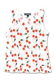 Cherry Girl's White Tank Top