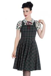 Peebles Green Tartan Pinafore Dress by Hell Bunny