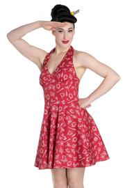 Marin Red Nautical Print Mini Summer Dress by Hell Bunny