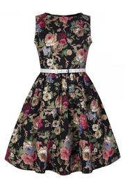 Mini Audrey Black Floral Children's Rockabilly Dress