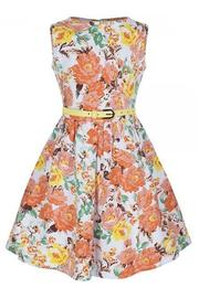 Mini Audrey Orange Floral Children's Rockabilly Dress