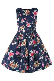 Mini Colette Navy Floral Kid's Rockabilly Dress