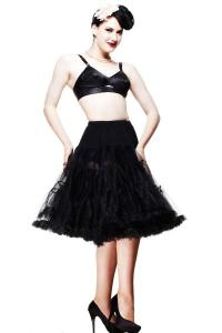 25 inch Black Below Knee Mesh Petticoat Skirt