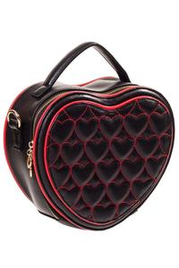 Great Heights Red Embroidered Hearts Black Handbag