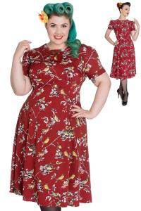 Birdy Carmine Red Pinup Dress by Hell Bunny