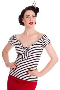 Dolly White Top with Black Stripes - XXS ONLY