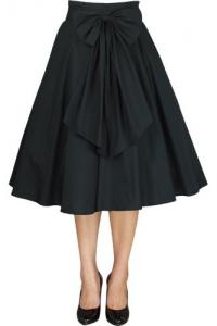 Black Cotton 50's Rockabilly Skirt with Bow - UK30 ONLY