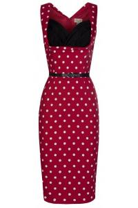 Vanessa Red Polkadot Wiggle Dress by Lindy Bop