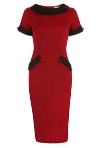 Tiffany Dark Red Collared Wiggle Dress by Lindy Bop