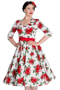 Eternity Red Rose 50's WHITE Rockabilly Dress XS ONLY