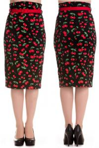 Cherry Pop Wiggle Skirt by Hell Bunny