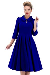 Glamorous Royal Blue Velvet 50's Tea Dress