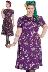 Birdy Aubergine Purple Pinup Dress by Hell Bunny