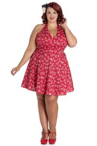 Marin Red Nautical Print Mini Summer Dress - PLUS SIZES LEFT