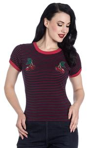 Ellie Cherry Black and Red Stripe Top by Hell Bunny